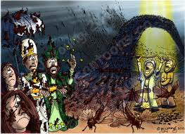 4th plague on Egypt. Moses