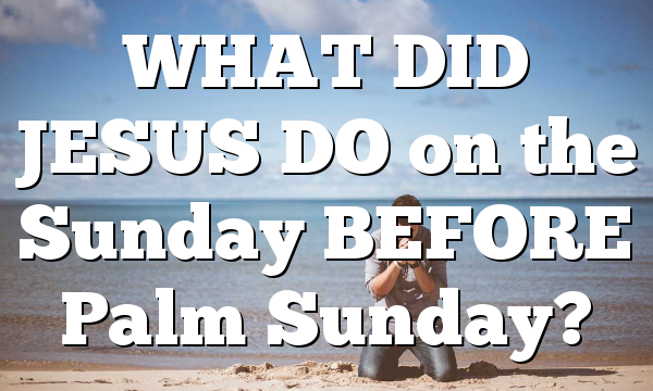 WHAT DID JESUS DO on the Sunday BEFORE Palm Sunday?