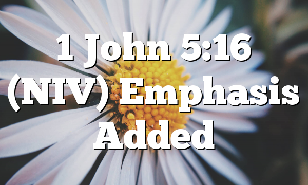 1 John 5:16 (NIV) Emphasis Added