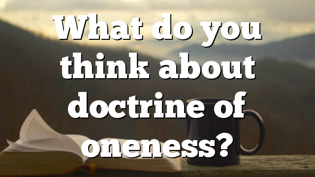 What do you think about doctrine of oneness?