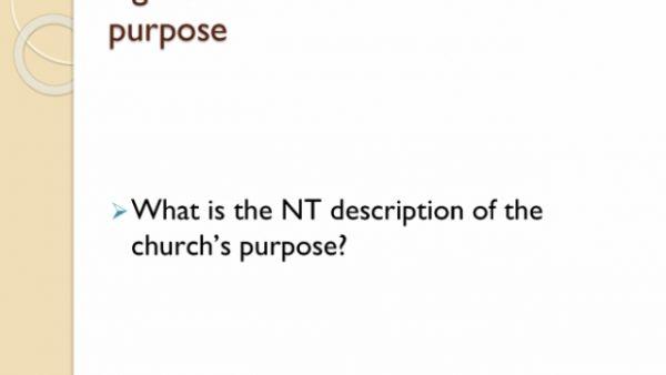 The Church had no PURPOSE