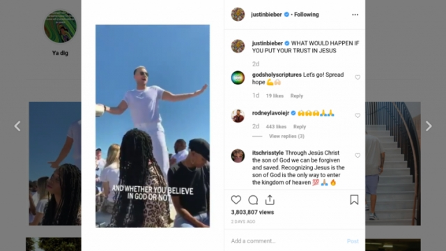 Bieber asked his 117M followers to put their trust in Jesus