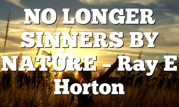 NO LONGER SINNERS BY NATURE – Ray E Horton