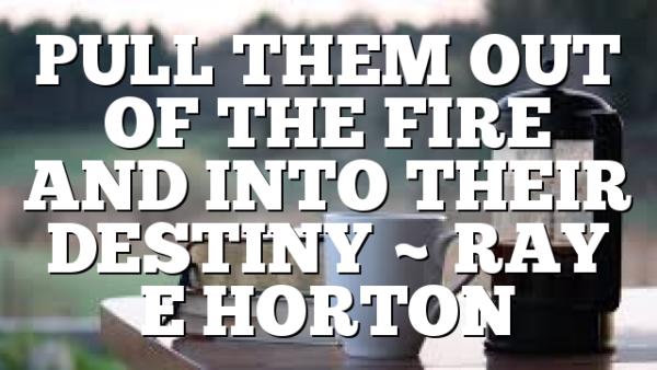 PULL THEM OUT OF THE FIRE AND INTO THEIR DESTINY ~ RAY E HORTON