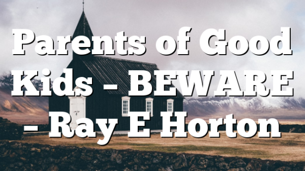 Parents of Good Kids – BEWARE – Ray E Horton