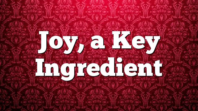 Joy, a Key Ingredient