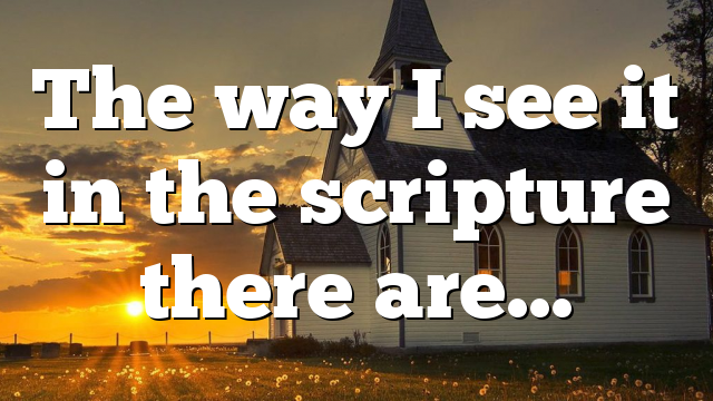The way I see it in the scripture there are…