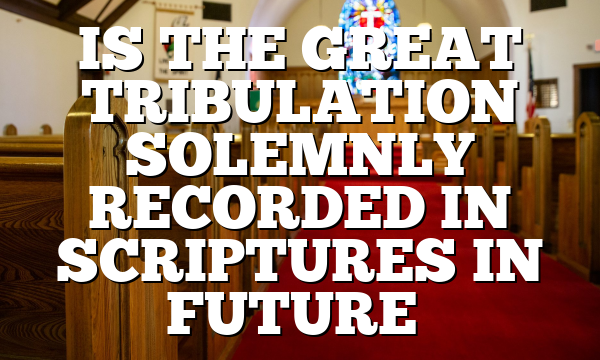 IS THE GREAT TRIBULATION SOLEMNLY RECORDED IN SCRIPTURES IN FUTURE…