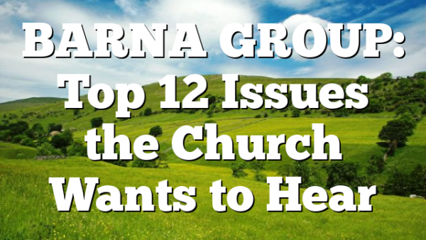 BARNA GROUP: Top 12 Issues the Church Wants to Hear