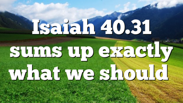 Isaiah 40.31 sums up exactly what we should…