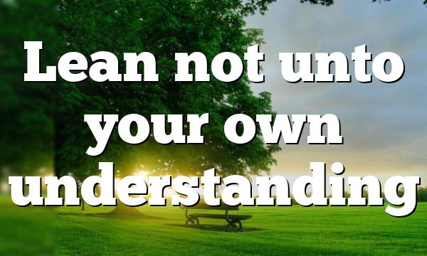 Lean not unto your own understanding