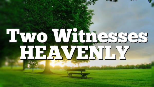 Two Witnesses HEAVENLY…
