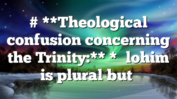 """# **Theological confusion concerning the Trinity:** *""""Elohim is plural but…"""