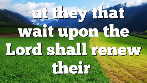 """""""But they that wait upon the Lord shall renew their…"""