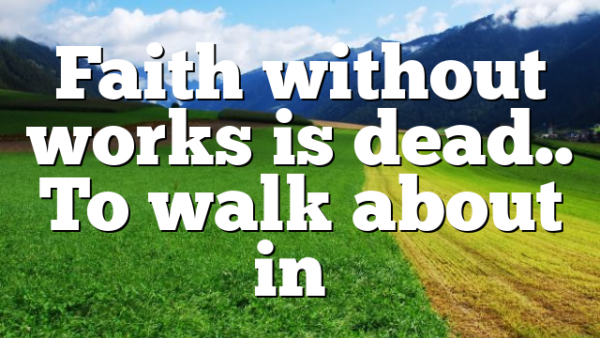 Faith without works is dead.. To walk about in…