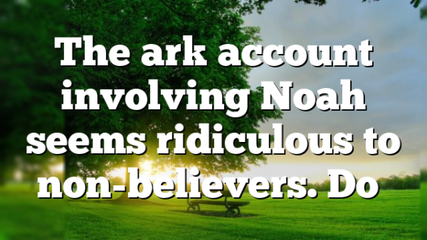 The ark account involving Noah seems ridiculous to non-believers. Do…