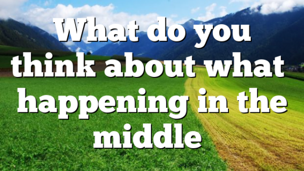 What do you think about what's happening in the middle…