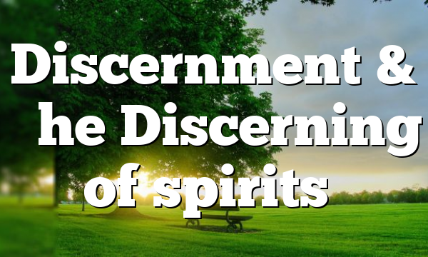 """Discernment & """"the Discerning of spirits"""""""