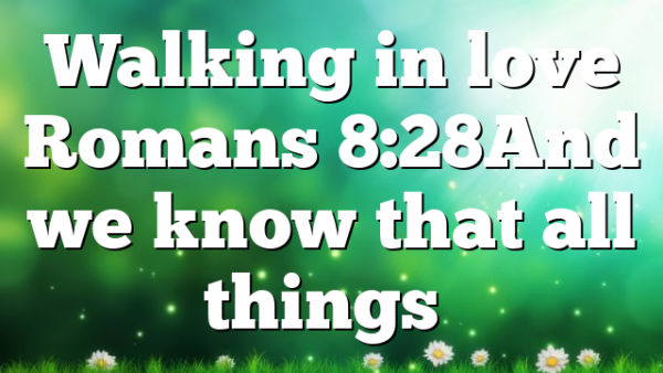 Walking in love Romans 8:28And we know that all things…